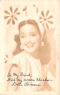 act012310 - Dorothy Lamour Movie Star Actor Actress Film Star Postcard, Old Vintage Antique Post Card