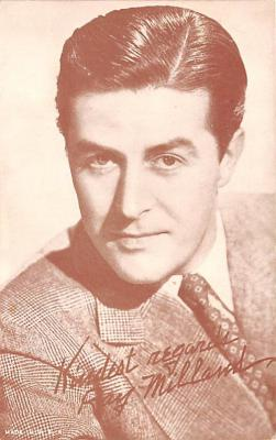 act013267 - Ray Milland Movie Star Actor Actress Film Star Postcard, Old Vintage Antique Post Card