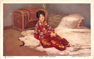 act014067 - Evelyn Nesbit, Ready for Mischief Movie Star Actor Actress Film Star Postcard, Old Vintage Antique Post Card