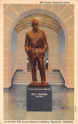 act018226 - New Will Rogers Memorial Building, Claremore, OK Movie Star Actor Actress Film Star Postcard, Old Vintage Antique Post Card