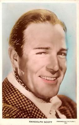 act019185 - Randolph Scott Movie Star Actor Actress Film Star Postcard, Old Vintage Antique Post Card