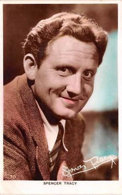 act020554 - Spencer Tracy Movie Star Actor Actress Film Star Postcard, Old Vintage Antique Post Card