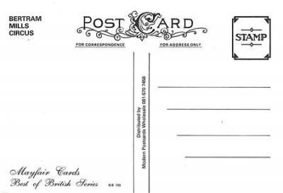 act500207 - Bertram Mills Circus Advertising Poster Postcard  back