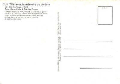 act500519 - Un Jour a New York, Gene Kelly, Franks Sinatra Movie Poster Postcard  back