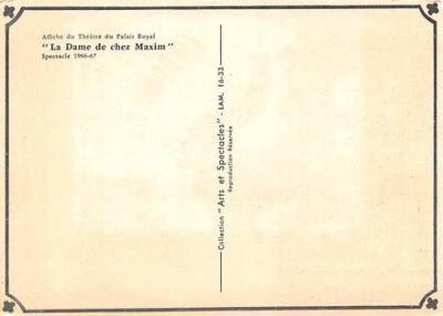 act500575 - Ladame De Chez Maxim Movie Poster Postcard  back