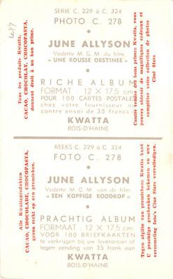 act_001032 - June Allyson Postcard Actress, Movie Star Post Card  back