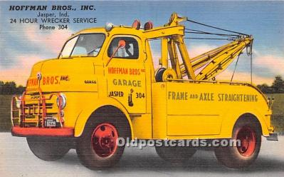 adv001479 - Linen - Tow Truck, Hoffman Bros., Inc, Jasper, Indiana, IN USA Advertising Postcard Post Card