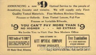adv001694 - Kitt Optical Company Advertising Post Card Post Card