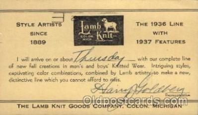 adv001714 - Lamb Knit Goods Company Colon, Michigan Advertising Post Card Post Card