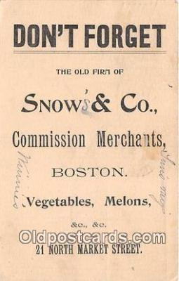 Snows & Co, Commission Merchants Postcard Post Card