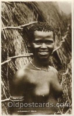 afr001314 - A pleasant face African Nude, Nudes, Postcard Post Card
