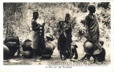 afr001337 - Take a rest by roadside African Nude, Nudes, Postcard Post Card