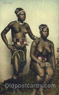 afr001408 - Zulu Girls African Nude Post Card Post Card