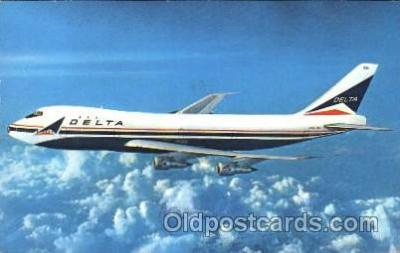air001091 - Delta Airlines, Boeing 747 Airline, Airlines, Airplane, Airplanes, Postcard Post Card