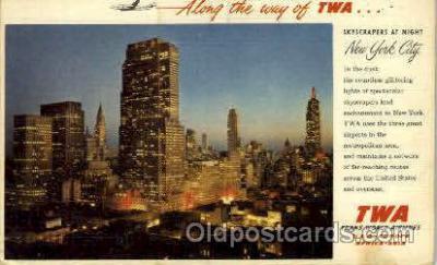 air001256 - TWA Skyscrapers At Night, New York City, USA Airplane, Aviation, Postcard Post Card