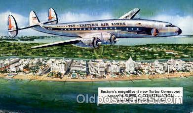 air001266 - Eastern Airlines Turbo Compound Powered Super C Constellation, Miami Beach, FL USA Airplane, Aviation, Postcard Post Card