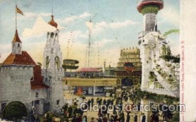 amp001091 - Luna Park Circle Swing Coney Island, New York USA Amusement Park Post Card Post Card