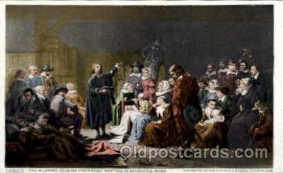 amr001026 - Pilgrims, Plymouth, Massachusetts, MA, USA American History Postcard Post Card