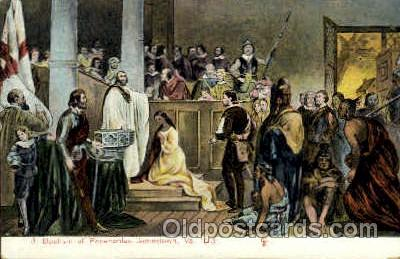 amr001033 - Baptism of Pocahontas 1613, Jamestown, Virginia, VA USA, American History Postcard Post Card