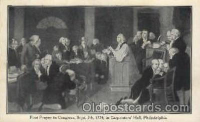 amr001046 - Prayer in Congress, Sept. 7, 1774, Carpenters Hall, Philadelphia, Pennsylvania, PA, USA American History Postcard Post Card