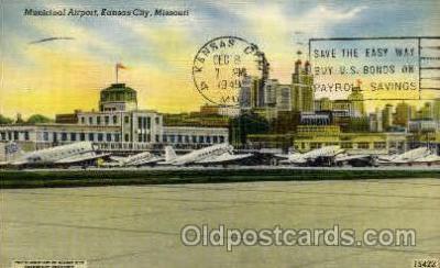 arp001226 - Municipal Airport, Kansas City, MO USA Airport, Airports Post Card, Post Card