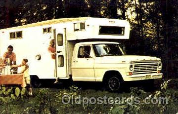 aut100117 - 1967 F-350 Pickup with Camper Auto, Automobile, Car, Postcard Post Card