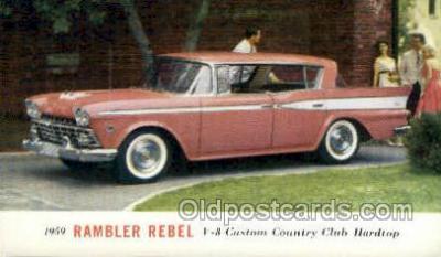 aut100301 - 1959 rambler rebel v8 custom club hardtop Automotive, Car Vehicle, Old, Vintage, Antique Postcard Post Card