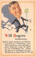 act018146 - Will Rogers Broadcasting Movie Star Actor Actress Film Star Postcard, Old Vintage Antique Post Card