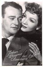 act023159 - John Wayne & Claudette Colbert Movie Star Actor Actress Film Star Postcard, Old Vintage Antique Post Card