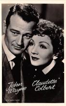 act023160 - John Wayne & Claudette Colbert Movie Star Actor Actress Film Star Postcard, Old Vintage Antique Post Card