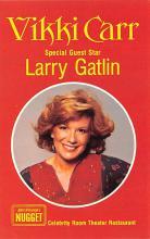 act027171 - Vikki Carr, Larry Gatlin, Celebrity Room Theater Restaurant Movie Star Actor Actress Film Star Postcard, Old Vintage Antique Post Card