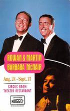 act027177 - Rowan & Martin, Barbara McNair, Circus Room Theater Restaurant Movie Star Actor Actress Film Star Postcard, Old Vintage Antique Post Card