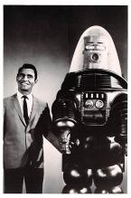 act027212 - Rod Serling and Robby the Robot Movie Star Actor Actress Film Star Postcard, Old Vintage Antique Post Card