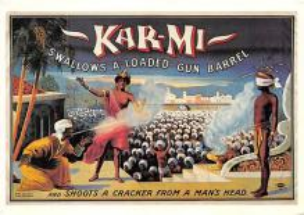 act500791 - Kar-mi, Swallows a Loaded Gun Barrel Advertising Poster Postcard