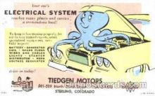 adv001365 - Tiedgen Motors, Sterling, Colorado, USA, Advertising Postcard Post Card