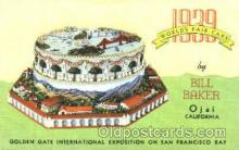 adv001390 - 1939 Worlds Fair Cake, by Bill Baker, Golden Gate International Exposition on San Francisco Bay, Advertising Postcard Post Card