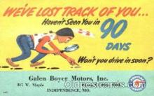 adv001397 - Galen Boyer Moters, Inc Independence, Mo. USA Advertising Postcard Post Card