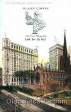 adv001419 - Gillies Coffee, Trinity Building and Trinity Church, New York, USA, Advertising Postcard Post Card