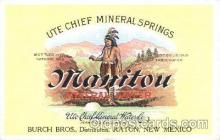adv001527 - Manitou, Mineral Water, Burch Bros., Distribution, Raton, New Mexico,  Advertising Postcard Post Card
