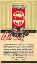 adv002034 - Kendall OK Gear Lube is All Oil Advertising Postcard Post Card