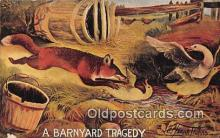 adv002077 - Barnyard Tragedy Advertising Postcard Post Card