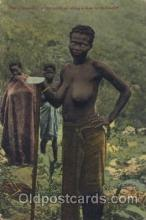 afr000075 - Tilling done by the female African Nude Nudes Postcard Post Card