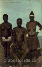 afr001469 - Zulu with wife and Daughter African Nude Post Card Post Card