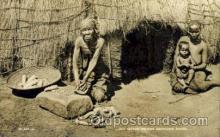 afr001513 - Old Native Woman Grinding Maize African Nude Post Card Post Card