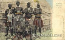 afr001537 - A wealthy Zulu & Wives African Nude Nudes Postcard Post Card