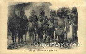afr001625 - Yakoma Un groupe de Jeunes filles African Nude Nudes, Old Vintage Postcard Post Card