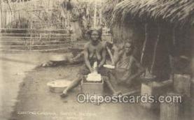 afr002265 - Grating Cassava, Sapele, Nigeria, West Africa African Nude Nudes Postcard Post Card