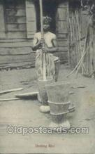 afr002293 - Beating Rice African Nude Nudes Postcard Post Card