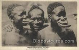 afr050022 - Saucerlips Ubangi Savages African Nude Nudes Postcard Post Card