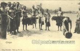 afr100394 - Belgian Congo Bakua Musicians African Life Postcard Post Card